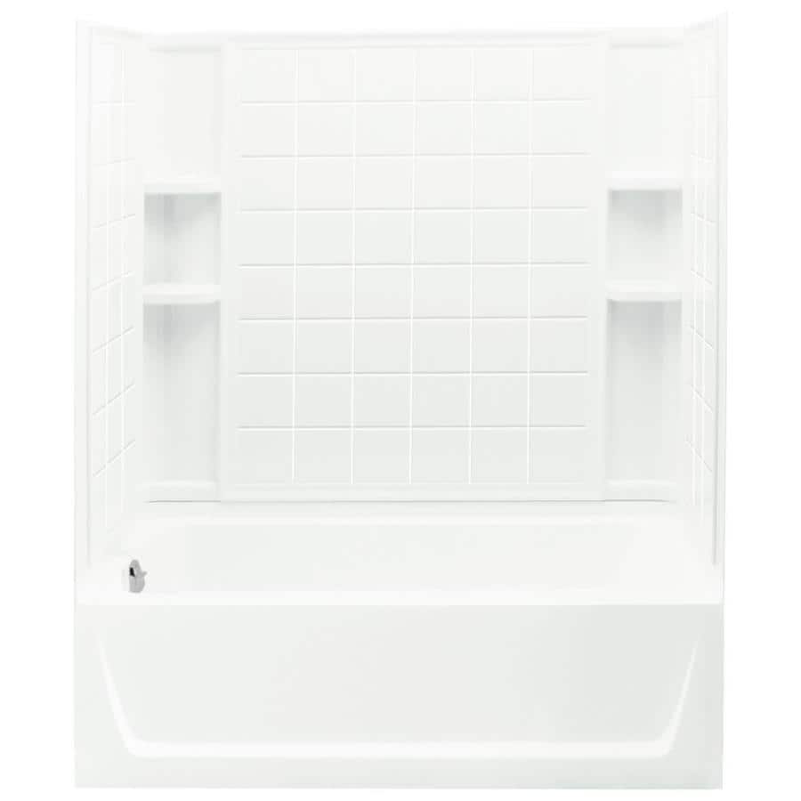 Sterling Ensemble AFD White Vikrell Wall and Floor 4-Piece Alcove Shower Kit with Bathtub (Common: 32-in x 60-in; Actual: 76-in x 32-in x 60-in)