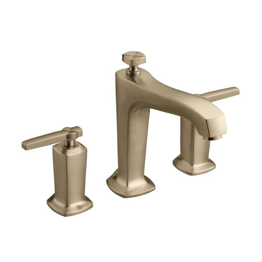 Shop Kohler Margaux Vibrant Brushed Bronze 2 Handle Deck Mount Bathtub Faucet At