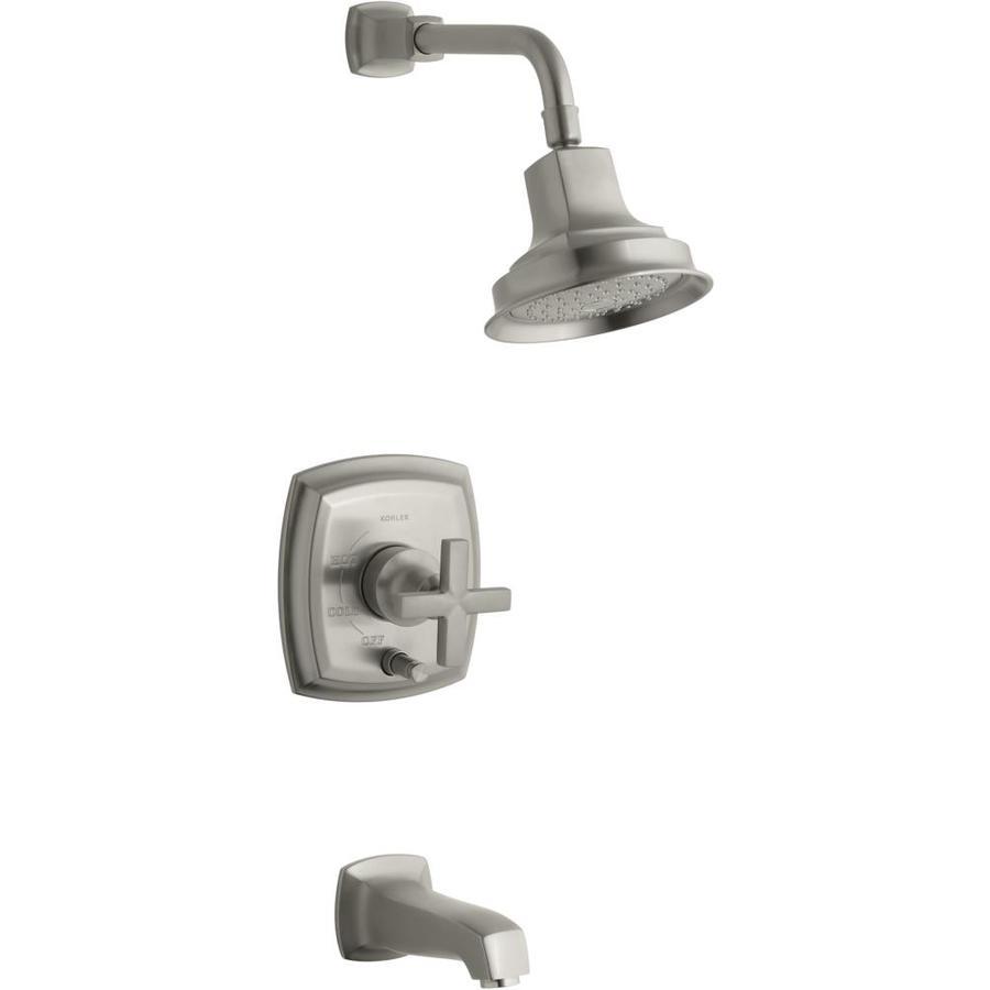 KOHLER Margaux Vibrant Brushed Nickel 1-Handle Bathtub and Shower Faucet Trim Kit with Single Function Showerhead