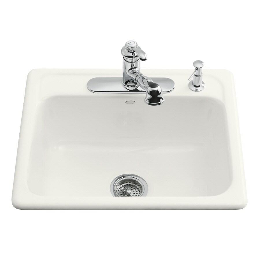 Shop kohler mayfield 22 in x 25 in white single basin cast iron drop kohler mayfield 22 in x 25 in white single basin cast iron drop workwithnaturefo
