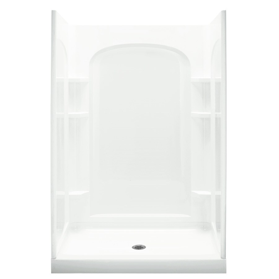 Sterling White Vikrell Wall and Floor Alcove Shower Kit (Common: 34-in x 48-in; Actual: 75.75-in x 34-in x 48-in)