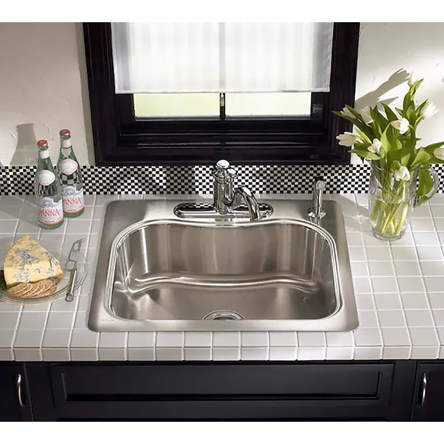 KOHLER Staccato 22-in x 25-in Single-Basin Stainless Steel Drop-in 4-Hole Commercial/Residential Kitchen Sink