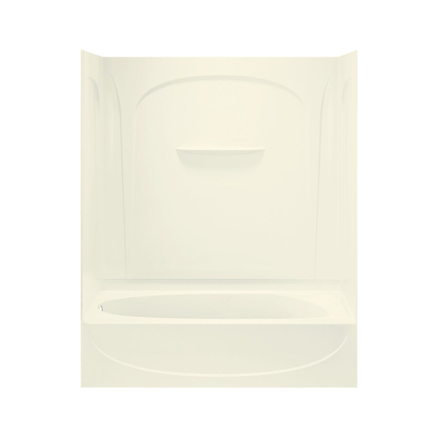 Sterling Acclaim Biscuit Fiberglass and Plastic Composite Oval In Rectangle Skirted Bathtub with Left-Hand Drain (Common: 30-in x 60-in; Actual: 74.25-in x 30.5-in x 60.25-in)