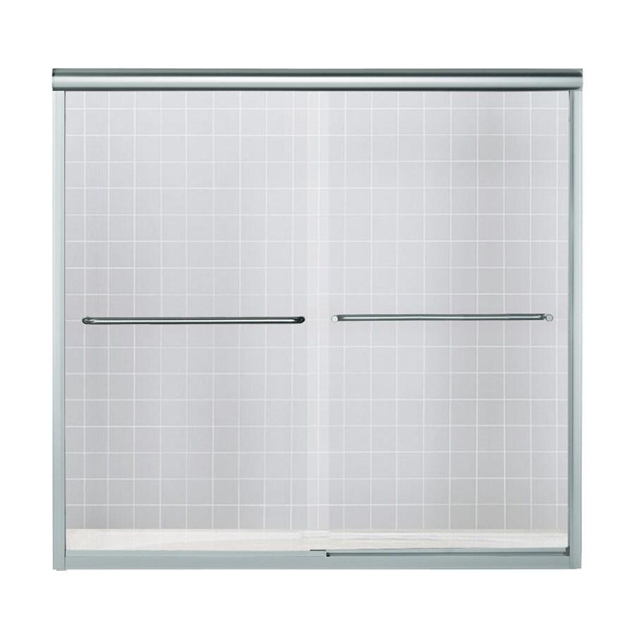 Sterling 59.63-in W x 58.312-in H Silver Frameless Bathtub Door