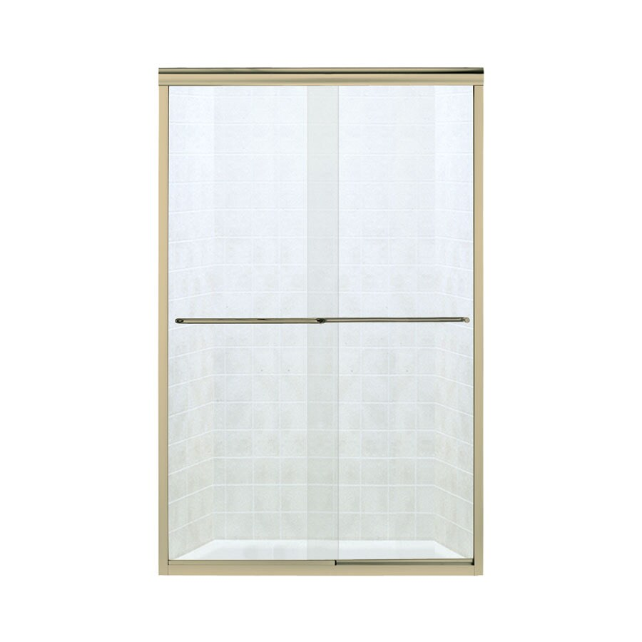 Sterling Finesse 42.625-in to 47.625-in W x 70.0625-in H Polished Brass Sliding Shower Door