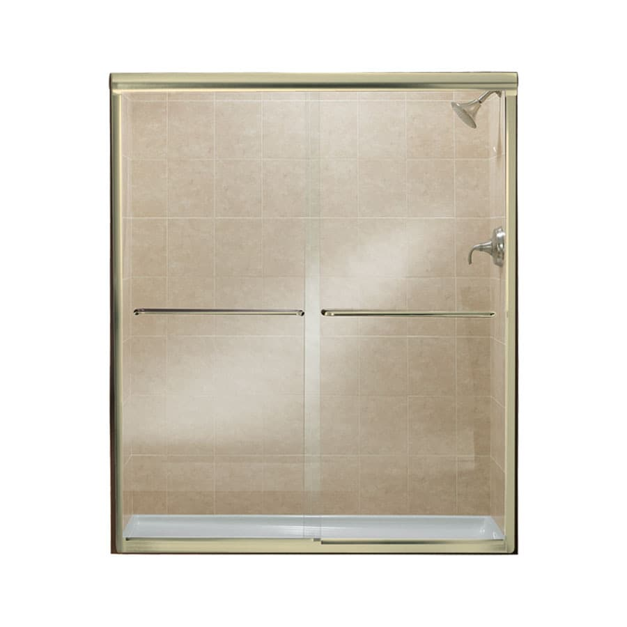 Sterling Finesse 54.625-in to 59.625-in W Frameless Polished Brass Sliding Shower Door