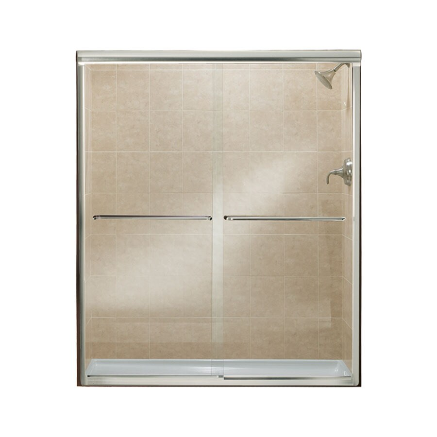Sterling Finesse 54.6250-in to 59.6250-in Frameless Silver Sliding Shower Door