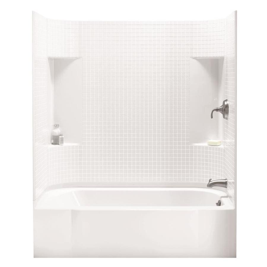 Sterling Accord White Vikrell Wall and Floor 4-Piece Alcove Shower Kit with Bathtub (Common: 30-in x 60-in; Actual: 72-in x 30-in x 60-in)