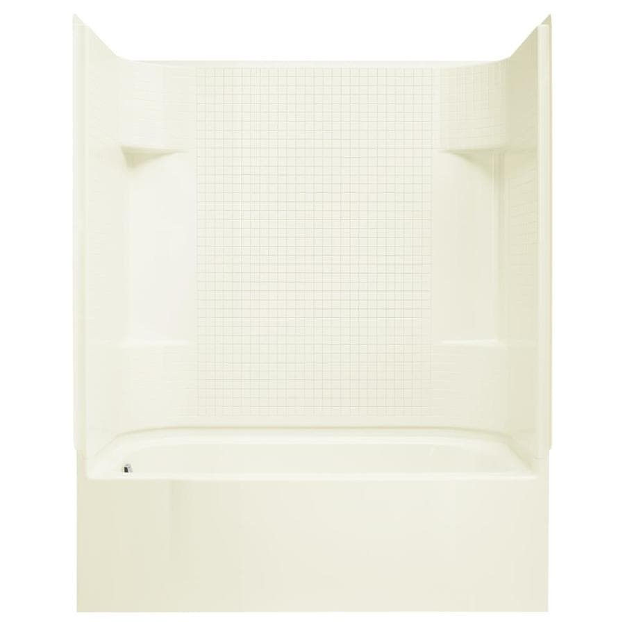 Sterling Accord AFD Biscuit Vikrell Wall and Floor 4-Piece Alcove Shower Kit with Bathtub (Common: 30-in x 60-in; Actual: 74.25-in x 30-in x 60-in)