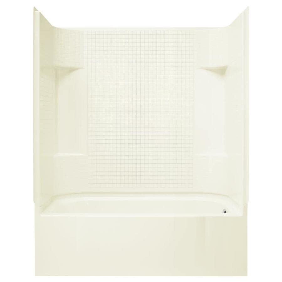 Sterling Accord Biscuit Fiberglass and Plastic Composite Rectangular Skirted Bathtub with Right-Hand Drain (Common: 30-in x 60-in; Actual: 74-in x 30.5-in x 60.25-in)