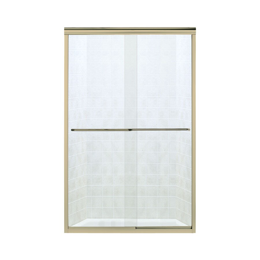 Sterling Finesse 40.375-in to 45.375-in W x 65.25-in H Polished Brass Sliding Shower Door