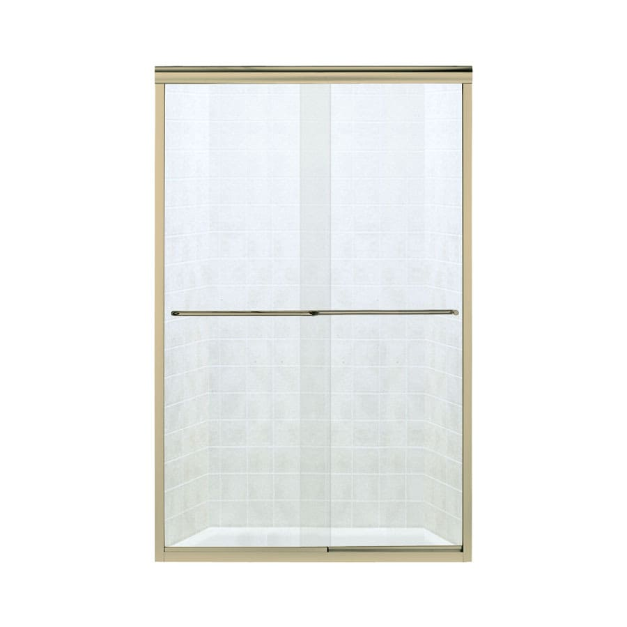 Sterling Finesse 52-in to 57-in W Frameless Polished Brass Sliding Shower Door