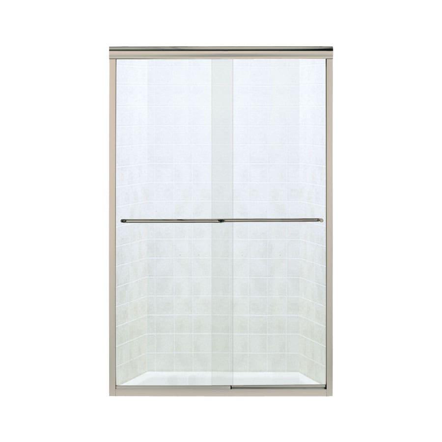 Sterling Finesse 52-in to 57-in W Frameless Brushed Nickel Sliding Shower Door