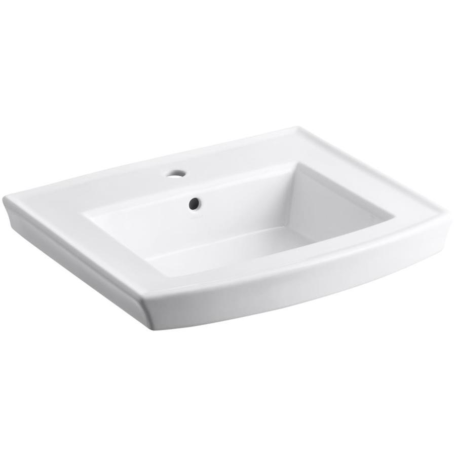 KOHLER Archer 23.9375-in L x 20.4375-in W White Vitreous China Rectangular Pedestal Sink Top