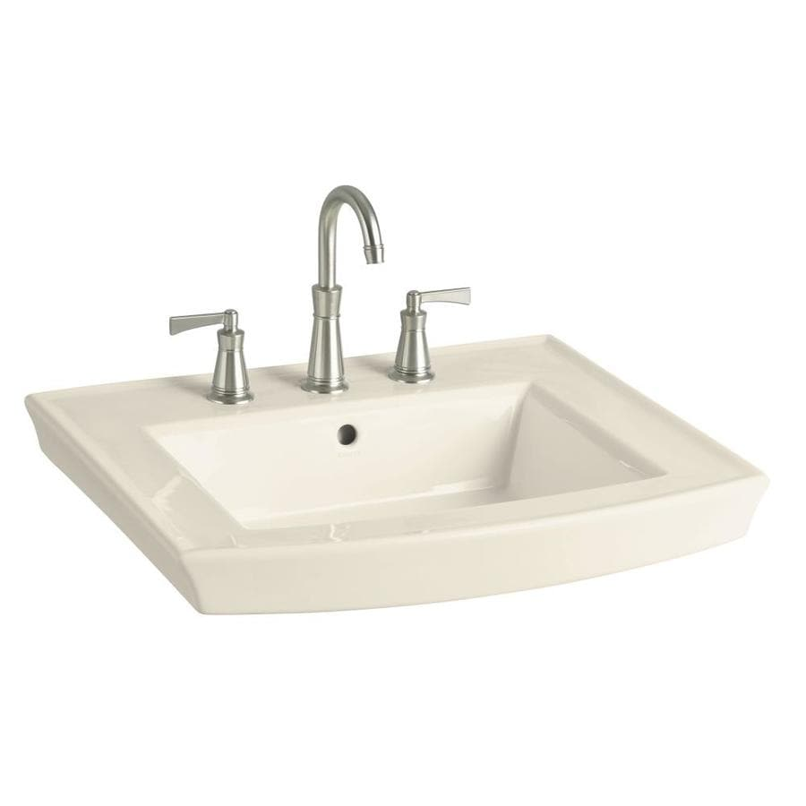 KOHLER Archer 23.9375-in L x 20.4375-in W Almond Vitreous China Rectangular Pedestal Sink Top