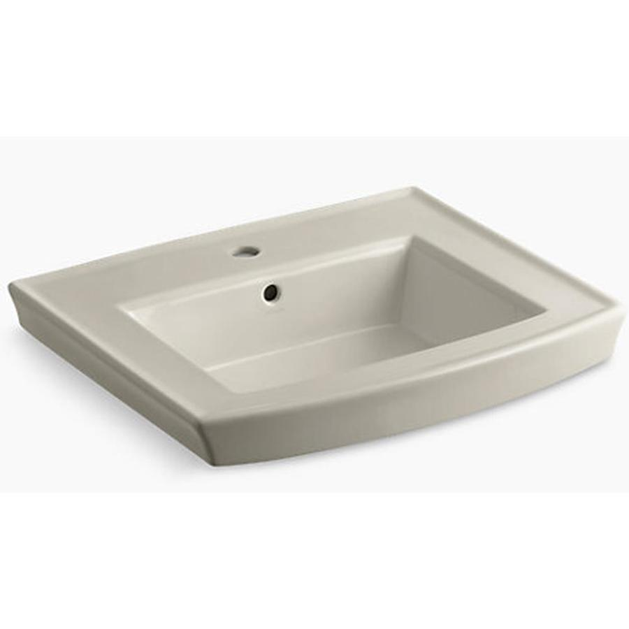 KOHLER Archer 23.94-in L x 20.44-in W Sandbar Vitreous China Rectangular Pedestal Sink Top