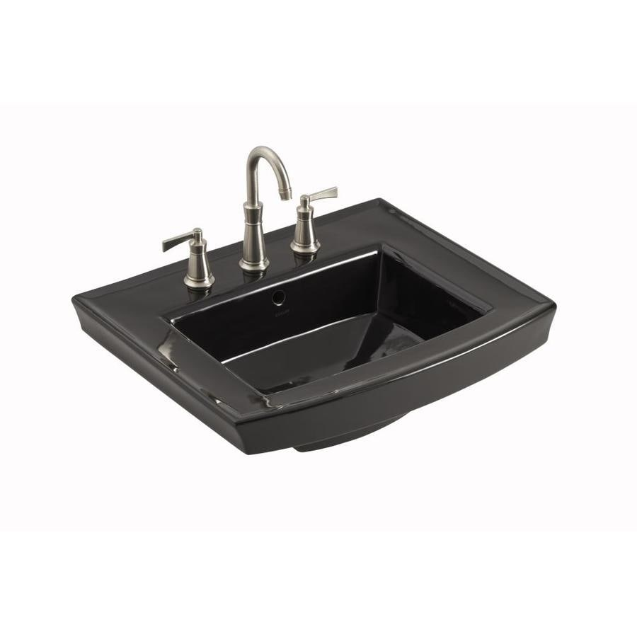KOHLER Archer 23.9375-in L x 20.4375-in W Black Vitreous China Rectangular Pedestal Sink Top