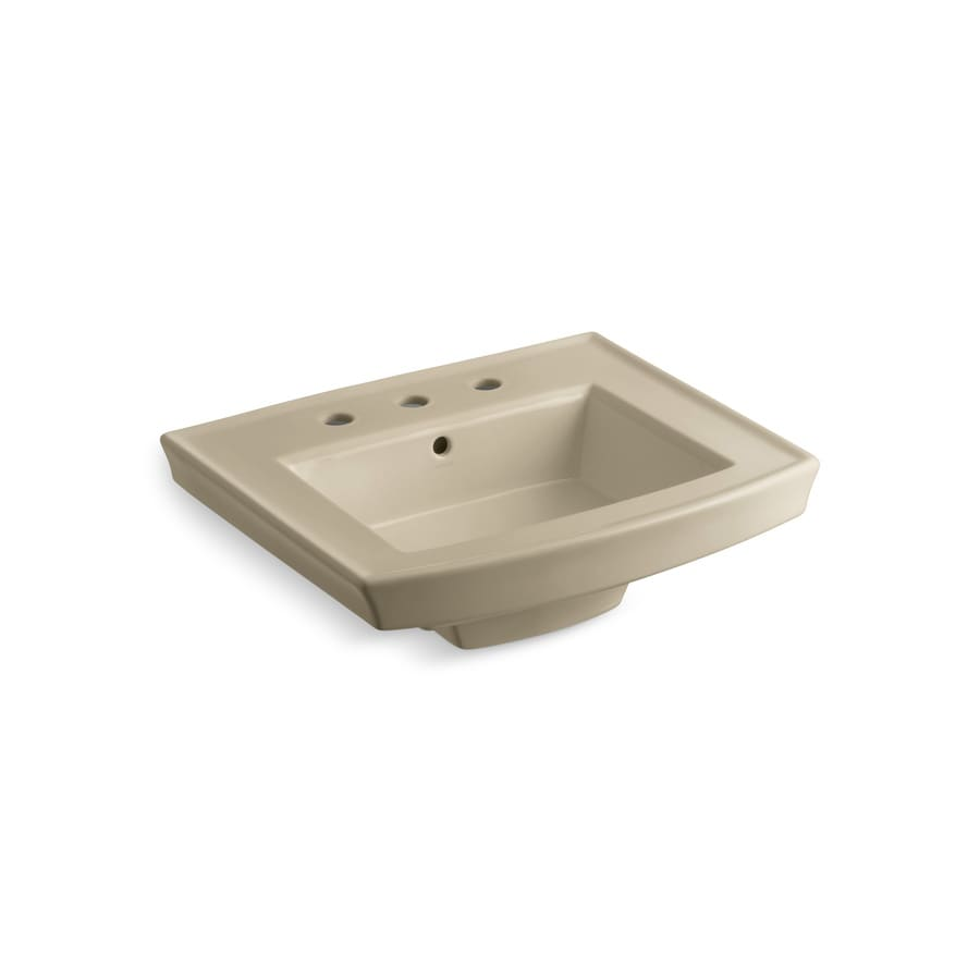 KOHLER Archer 23.9375-in L x 20.4375-in W Mexican Sand Vitreous China Rectangular Pedestal Sink Top