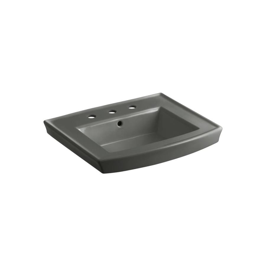 KOHLER Archer 23.9375-in L x 20.4375-in W Thunder Grey Vitreous China Rectangular Pedestal Sink Top
