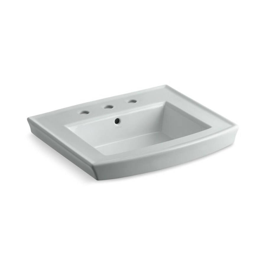 KOHLER Archer 23.9375-in L x 20.4375-in W Ice Grey Vitreous China Rectangular Pedestal Sink Top