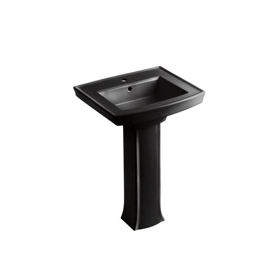 KOHLER Archer 35-in H Black Black Vitreous China Pedestal Sink