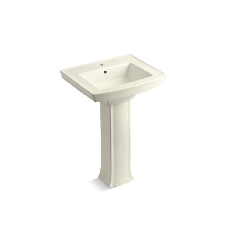 ... Archer 35-in H Biscuit Vitreous China Pedestal Sink at Lowes.com