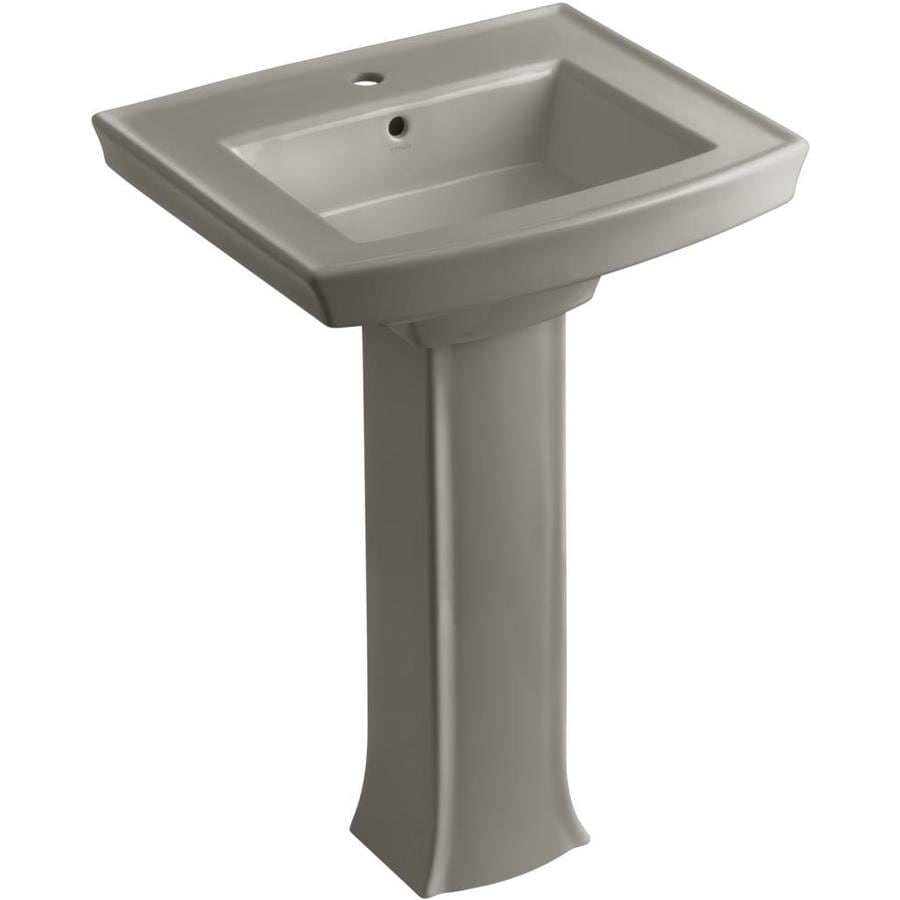 KOHLER Archer 35-in H Cashmere Vitreous China Pedestal Sink