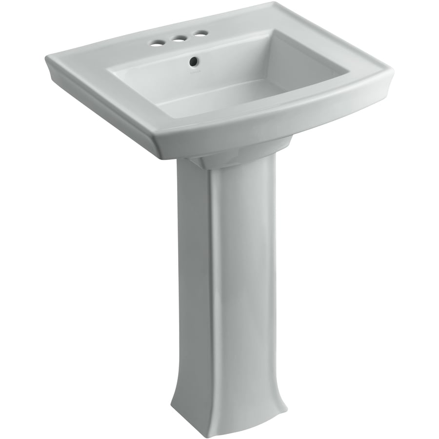 KOHLER Archer 35-in H Ice Grey Vitreous China Pedestal Sink