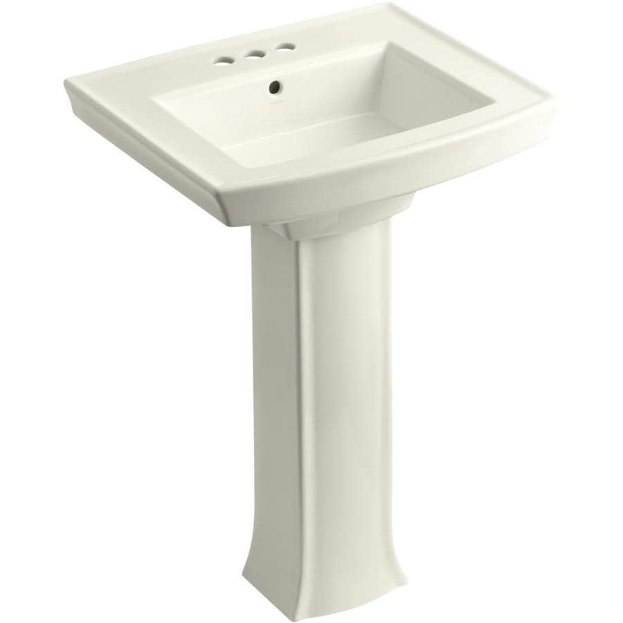 KOHLER Archer 35-in H Biscuit Vitreous China Pedestal Sink