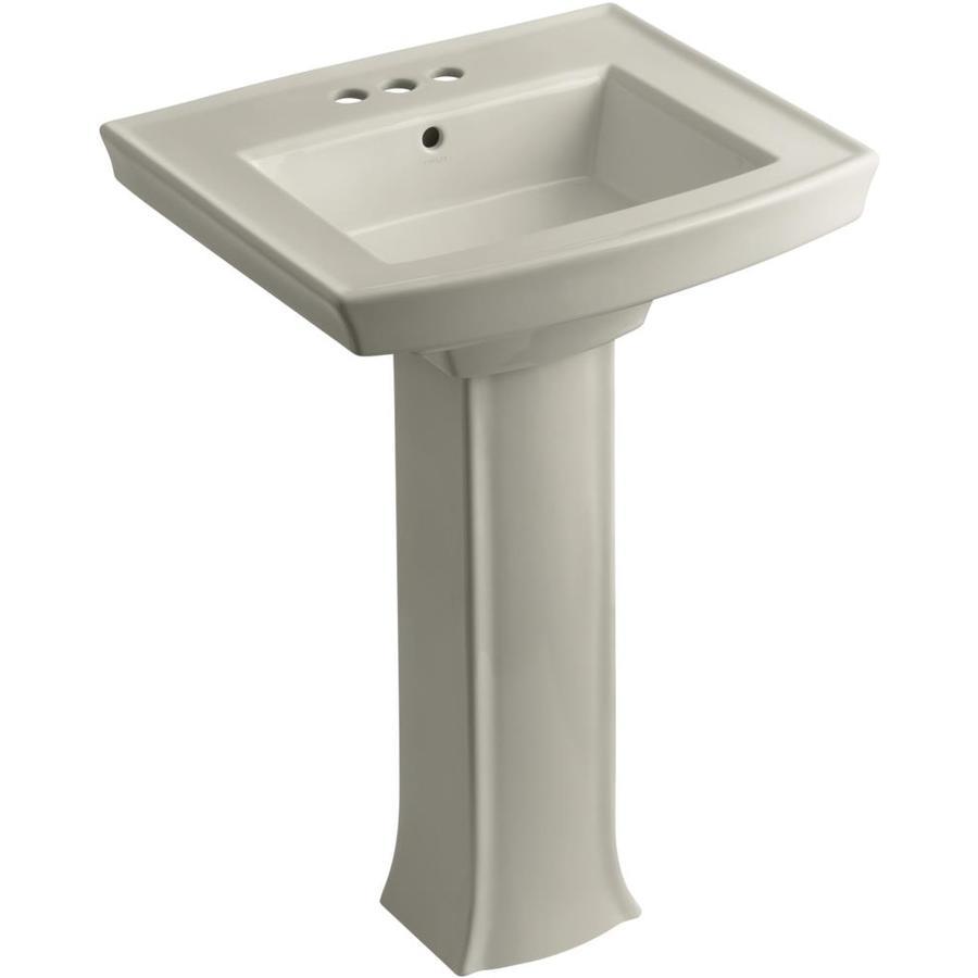 KOHLER Archer 35-in H Sandbar Vitreous China Pedestal Sink