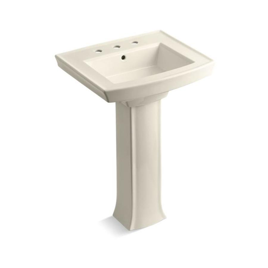 KOHLER Archer 35-in H Almond Vitreous China Pedestal Sink