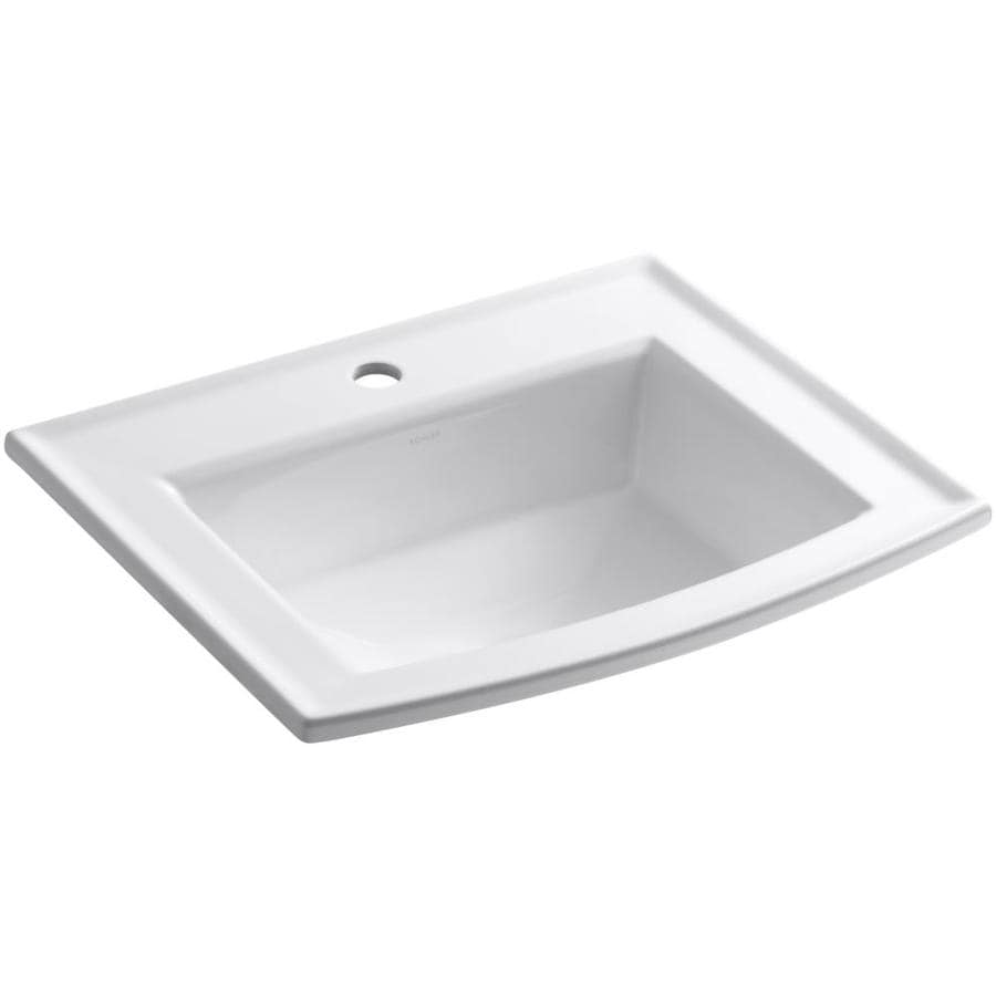 Shop Kohler Archer White Drop In Rectangular Bathroom Sink With Overflow At