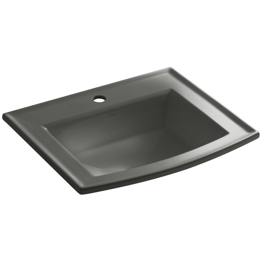 KOHLER Archer Thunder Grey Drop-in Rectangular Bathroom Sink with Overflow