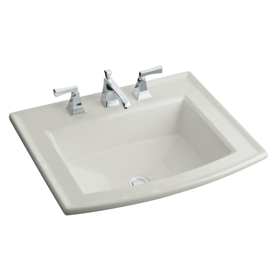 KOHLER Archer Ice Grey Drop-in Rectangular Bathroom Sink with Overflow