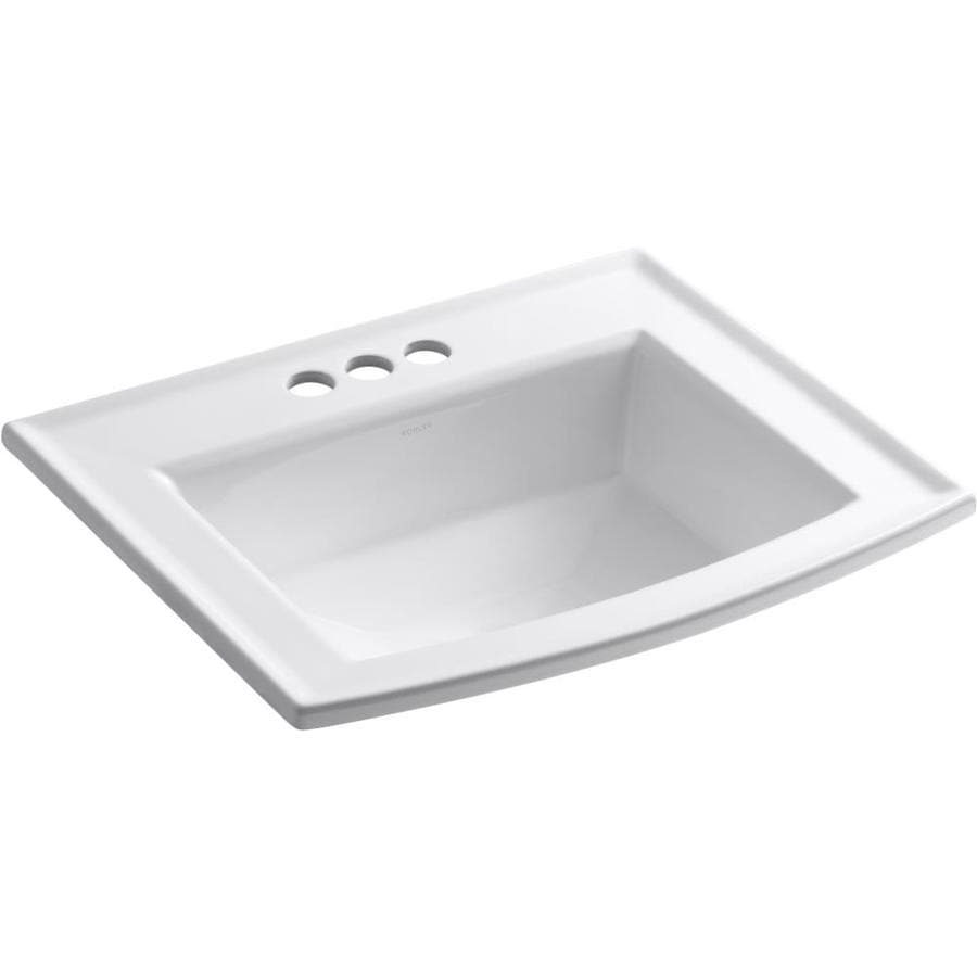 Kohler Archer White Drop In Rectangular Bathroom Sink With Overflow