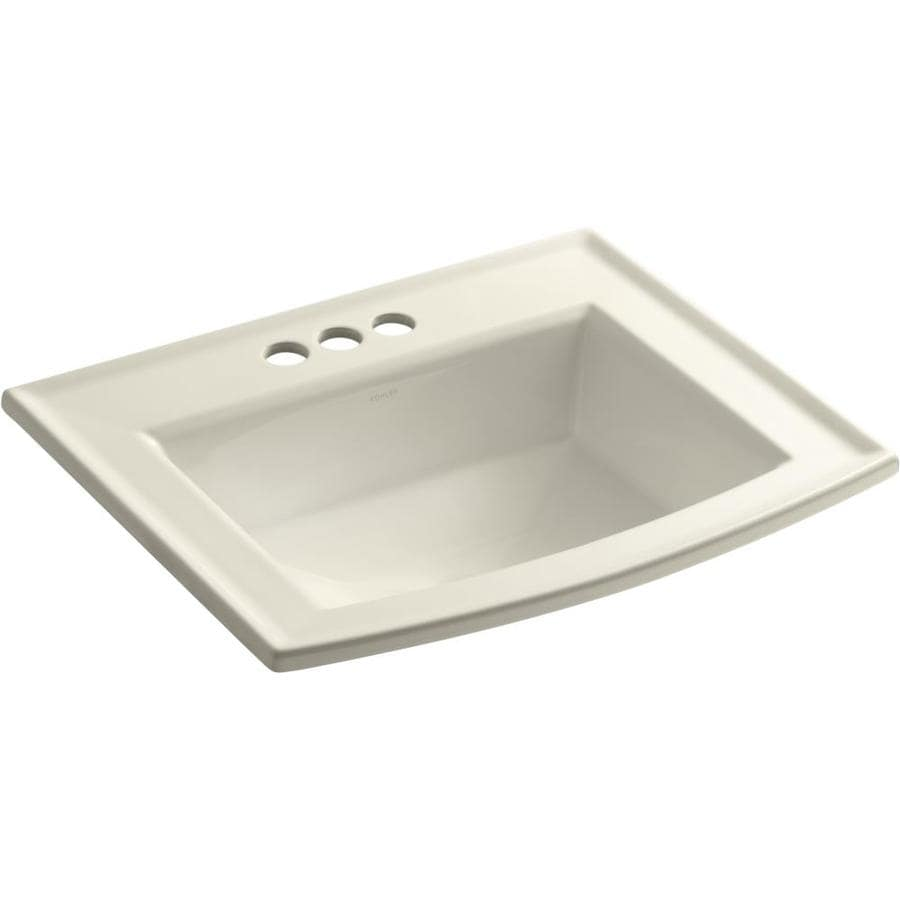 Shop KOHLER Archer Almond Drop-in Rectangular Bathroom Sink with ...