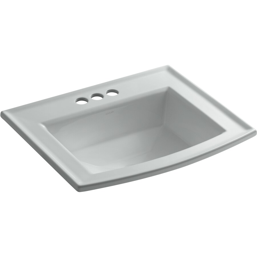 KOHLER Archer Biscuit Drop-in Rectangular Bathroom Sink with Overflow