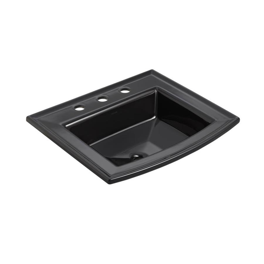 Shop Kohler Archer Black Drop In Rectangular Bathroom Sink With Overflow At