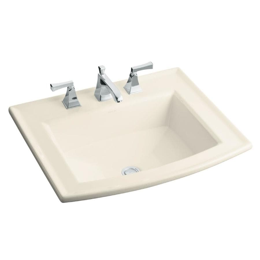 KOHLER Archer Almond Drop-in Rectangular Bathroom Sink with Overflow