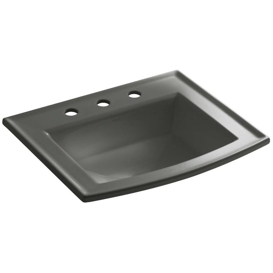 KOHLER Archer White Undermount Rectangular Bathroom Sink with Overflow