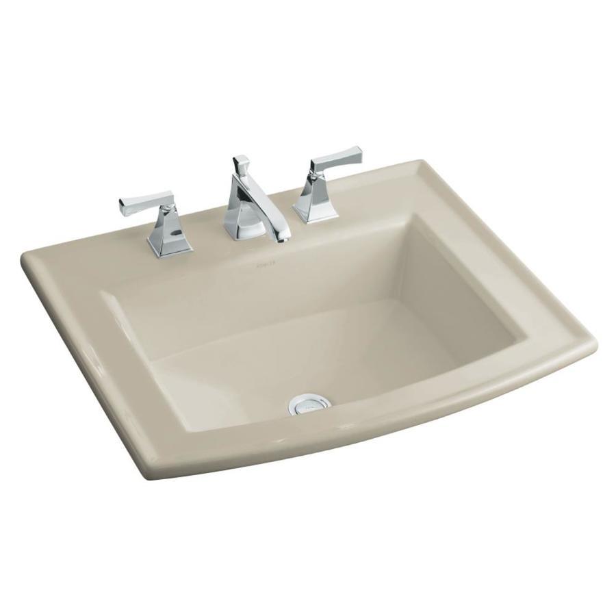 KOHLER Archer Sandbar Drop-in Rectangular Bathroom Sink with Overflow