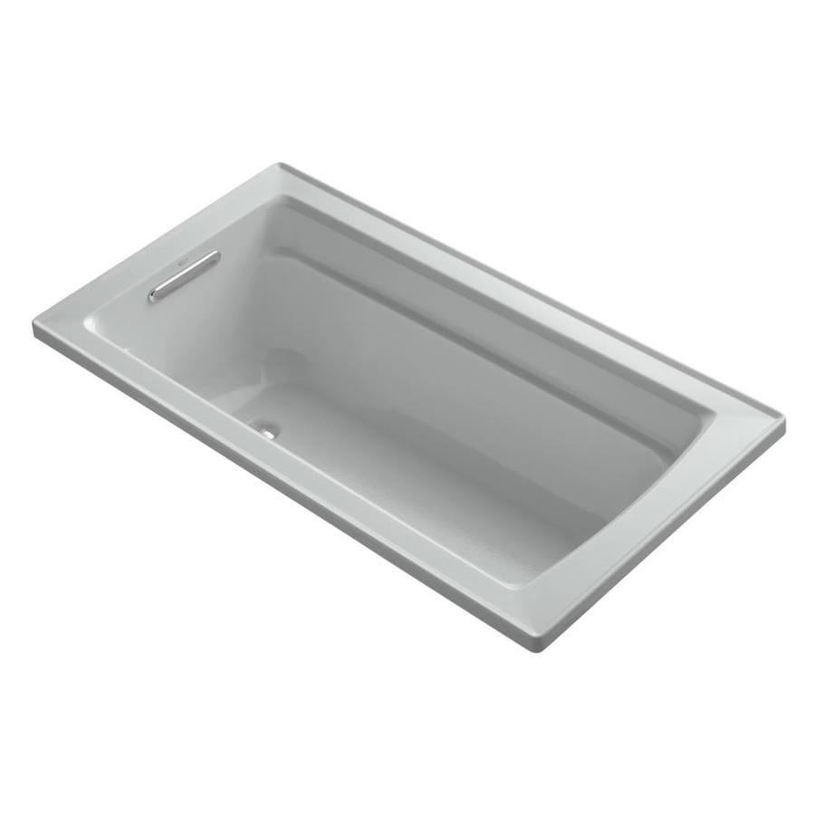 KOHLER Archer Ice Grey Acrylic Rectangular Drop-in Bathtub with Reversible Drain (Common: 32-in x 60-in; Actual: 19-in x 32-in x 60-in)