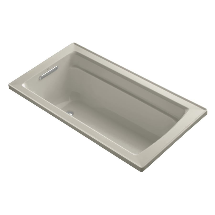 KOHLER Archer 60-in Sandbar Acrylic Drop-In Bathtub with Reversible Drain