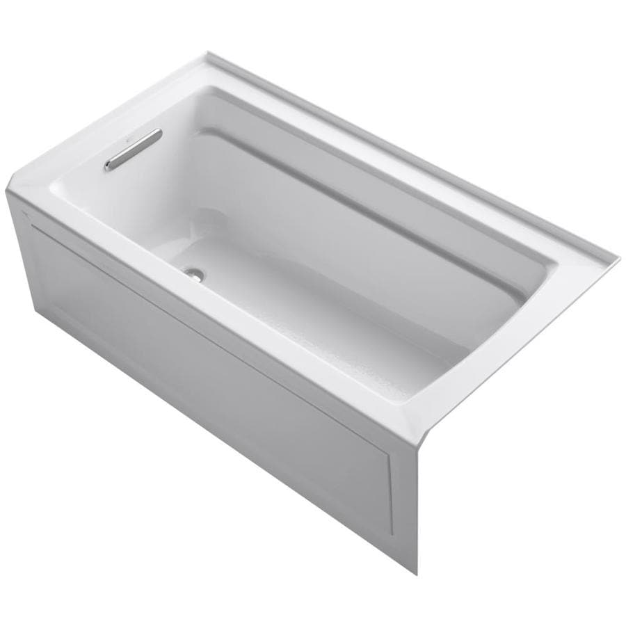 Shop kohler archer 60 in white acrylic drop in bathtub for How deep is a normal bathtub