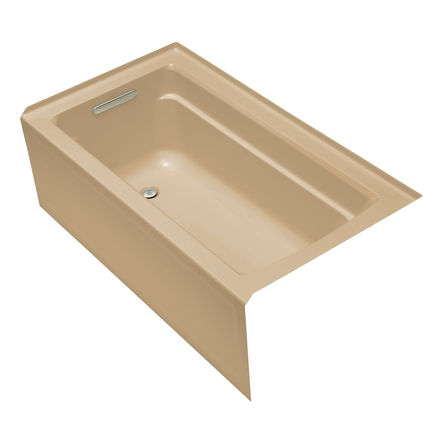KOHLER Archer Mexican Sand Acrylic Rectangular Alcove Bathtub with Left-Hand Drain (Common: 32-in x 60-in; Actual: 19-in x 32-in x 60-in)