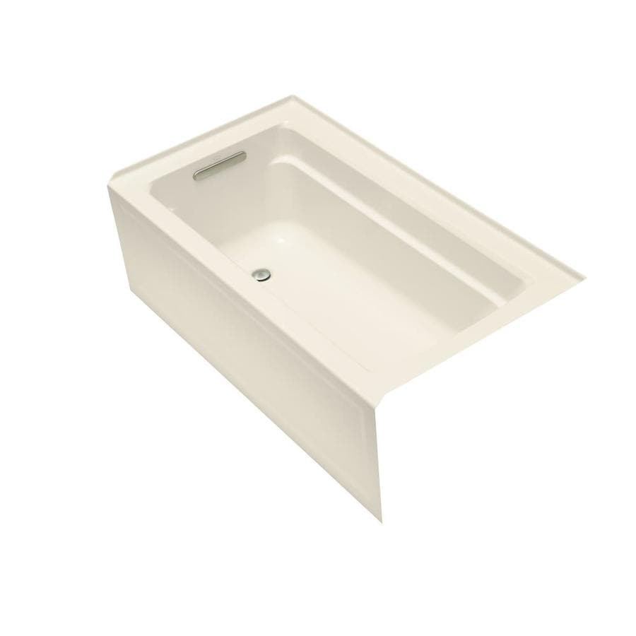 KOHLER Archer Almond Acrylic Rectangular Alcove Bathtub with Left-Hand Drain (Common: 32-in x 60-in; Actual: 19-in x 32-in x 60-in)