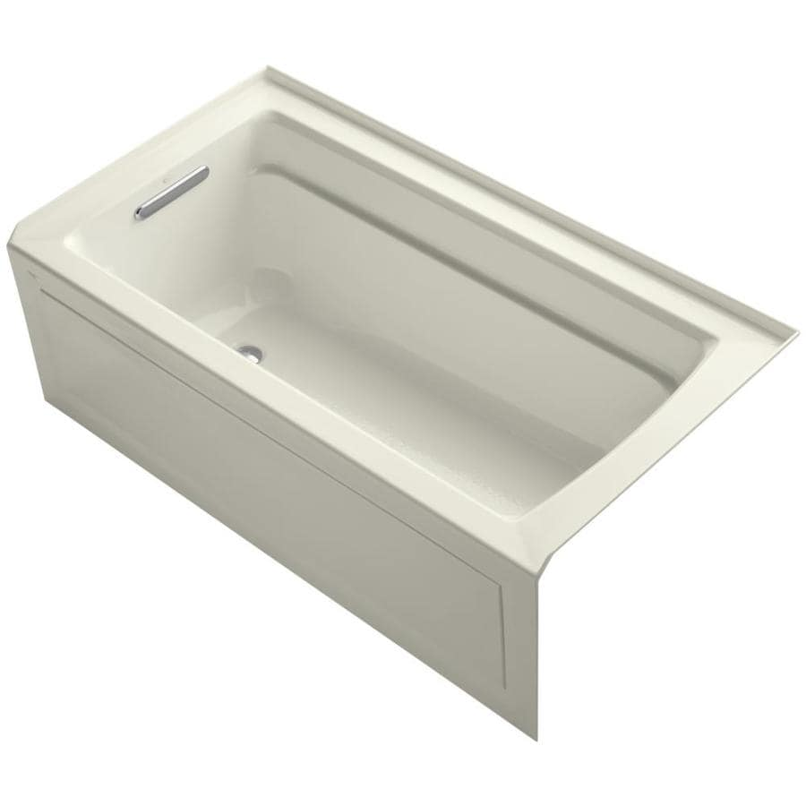 KOHLER Archer 60-in Biscuit Acrylic Alcove Bathtub with Left-Hand Drain