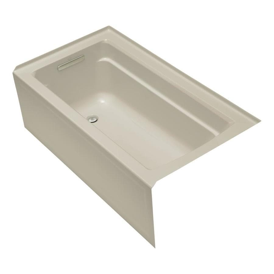 KOHLER Archer 60-in Sandbar Acrylic Alcove Bathtub with Left-Hand Drain