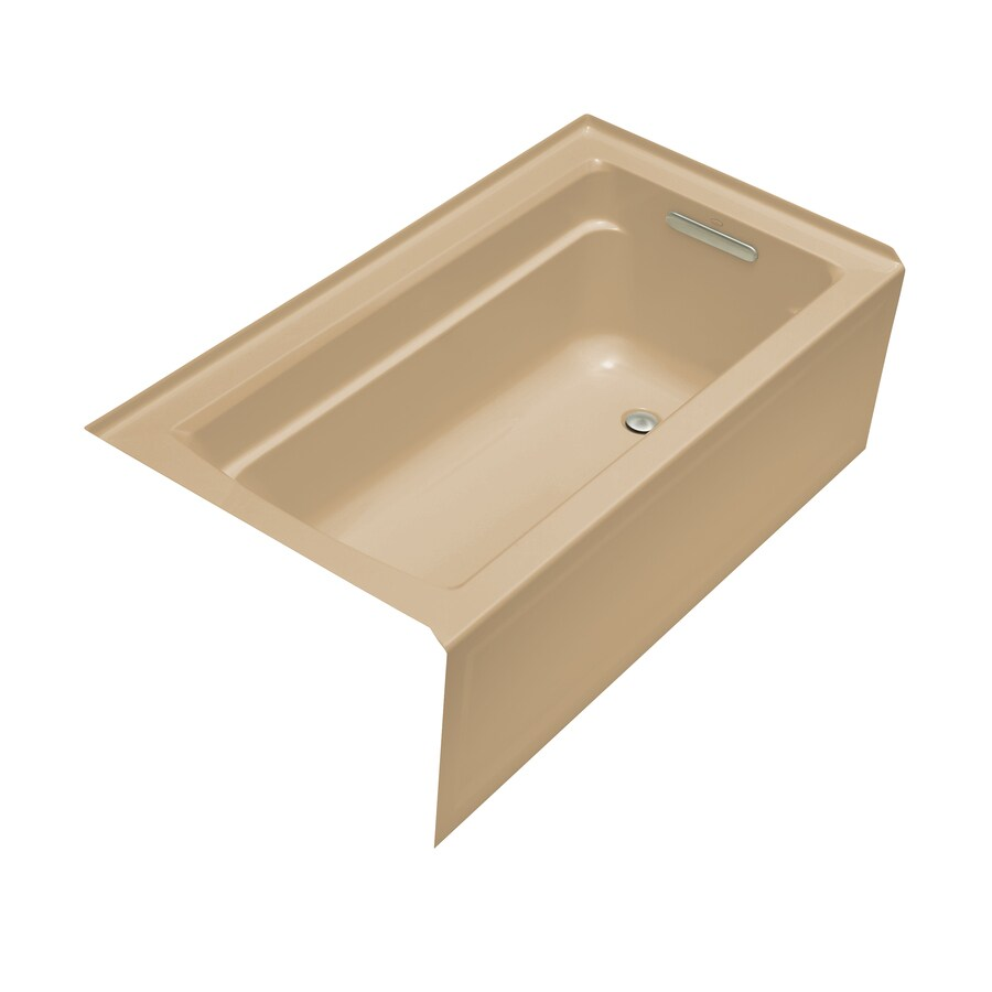 KOHLER Archer 60-in Mexican Sand Acrylic Alcove Bathtub with Right-Hand Drain