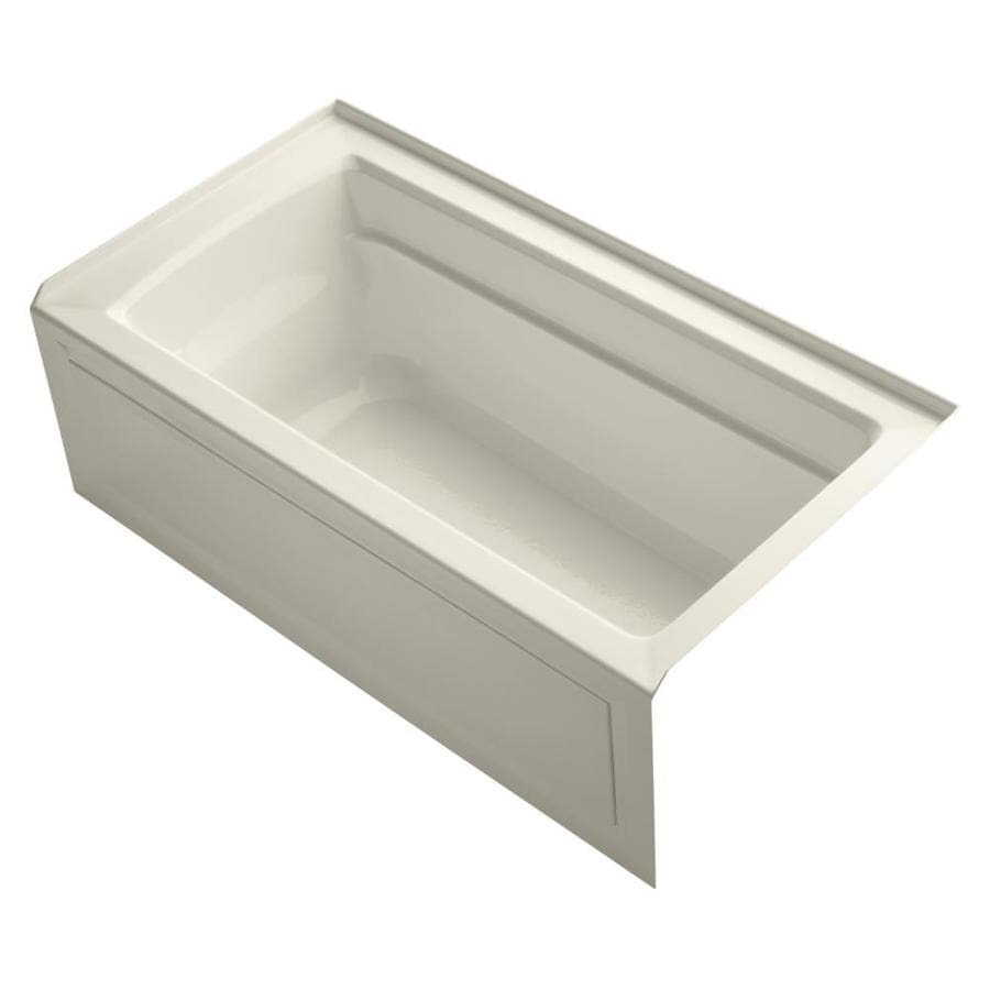 KOHLER Archer Almond Acrylic Rectangular Alcove Bathtub with Right-Hand Drain (Common: 32-in x 60-in; Actual: 19-in x 32-in x 60-in)